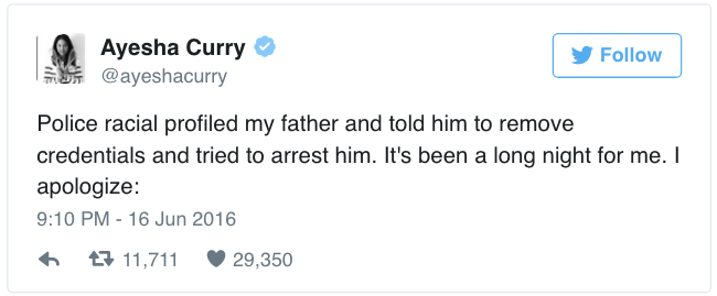 Ayesha Curry Tweet about Father